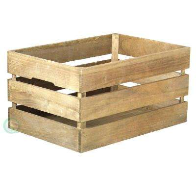 "18"" x 12.5"" x 9 3/8"" Wooden Antique Style Crates, Easy to Stack for Decorative Shelving"