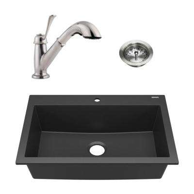Camille All-in-One Drop-In Granite Composite 33 in. 1-Hole Single Bowl Kitchen Sink with Faucet and Drain in Matte Black