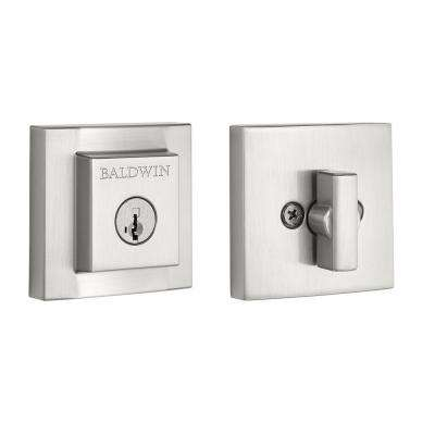 Prestige Spyglass Square Single Cylinder Satin Nickel Deadbolt featuring SmartKey