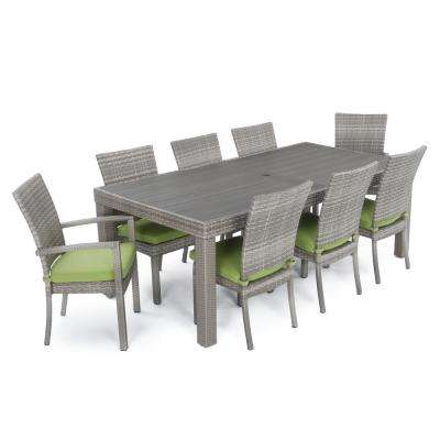 Cannes 9-Piece Patio Woven Dining Set with Ginkgo Green Cushions