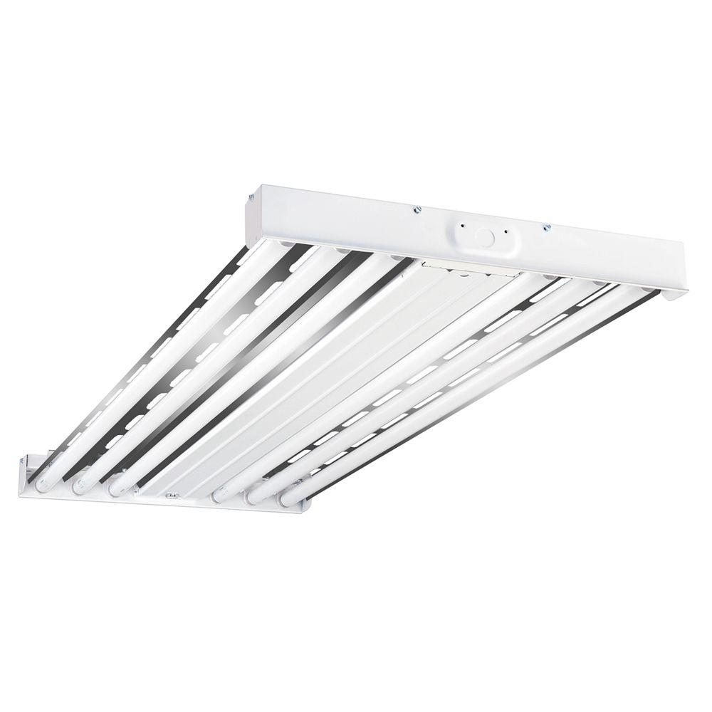 Metalux 4 ft 6 lamp white industrial grade t8 fluorescent high 6 lamp white industrial grade t8 fluorescent high bay light fixture with wide spectrum reflector hbl632rt2 the home depot arubaitofo Image collections