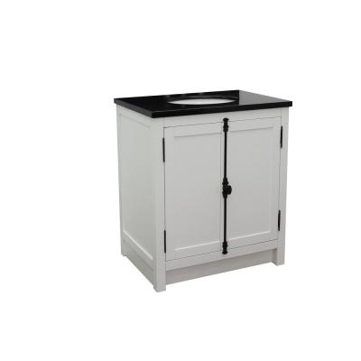 Plantation 31 in. W x 22 in. D Bath Vanity in White with Granite Vanity Top in Black with White Oval Basin