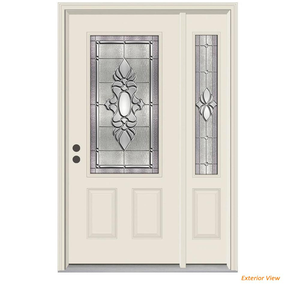 JELD-WEN 50 in. x 80 in. 3/4 Lite Langford Primed Steel Prehung Right-Hand Inswing Front Door with Right-Hand Sidelite
