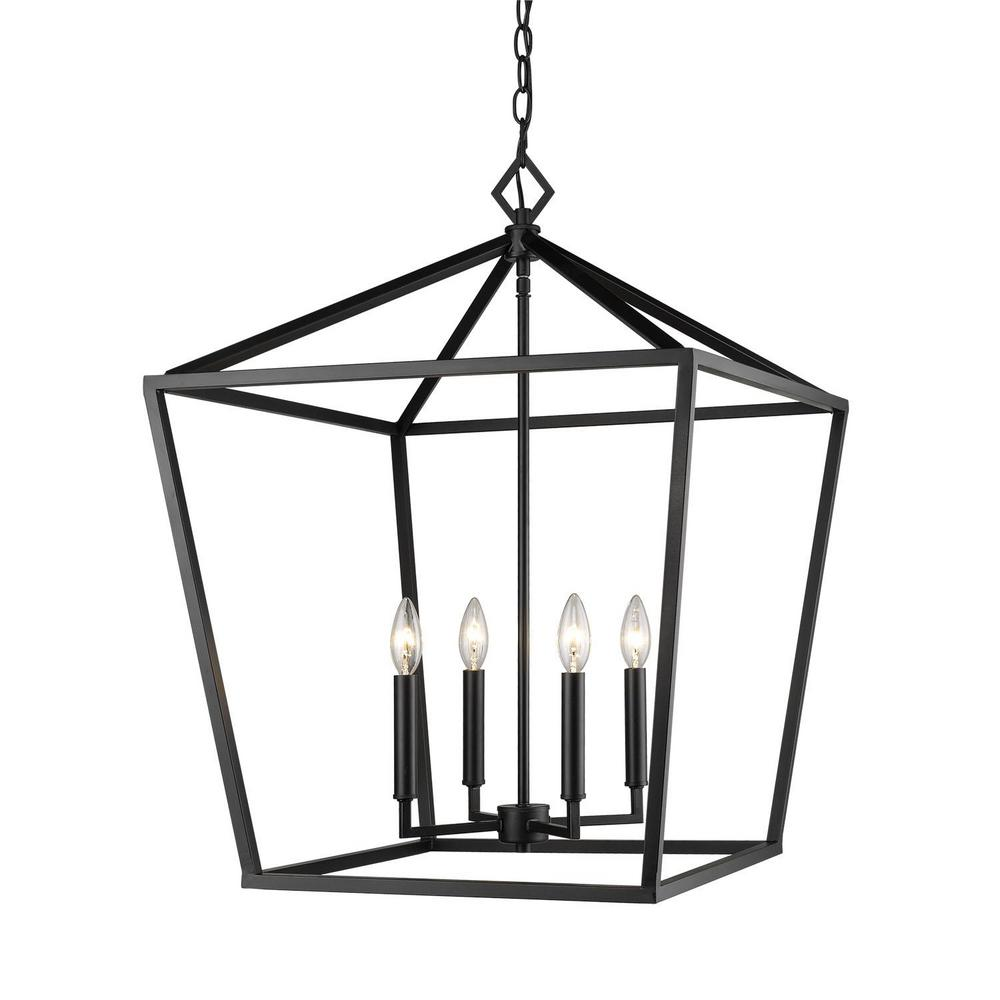 Millennium Lighting 3254 Mb 4 Light 20 In Wide Taper Candle Matte Black Pendant