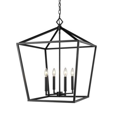 3254-MB 4-Light 20 in. Wide Taper Candle Matte Black Pendant