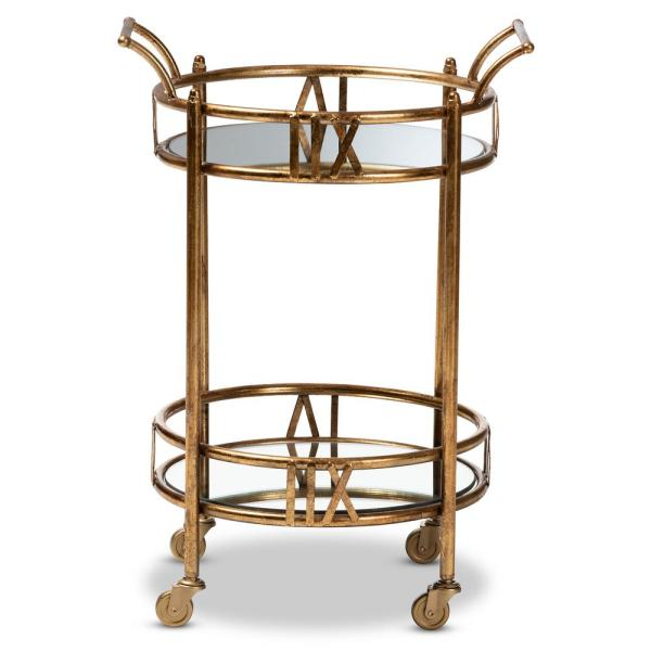 Baxton Studio Bellamy Antique Gold 2-Tier Mobile Bar Cart 151-9061-HD