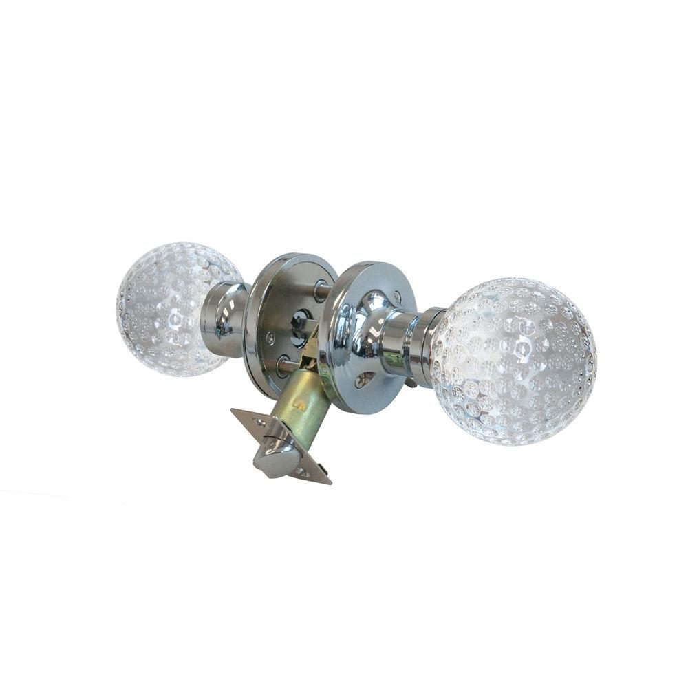 Krystal Touch of NY Golf Ball Crystal Chrome Privacy Door Knob with LED Mixing Lighting Touch Activated