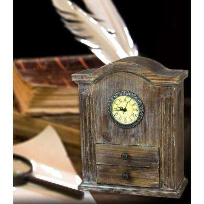 11 in. W x 5 in. D x 12.5 in. H Vintage Wooden Handcrafted Desk Clock