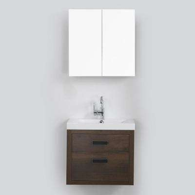 23.6 in. W x 19.4 in. H Bath Vanity in Brown with Resin Vanity Top in White with White Basin and Mirror