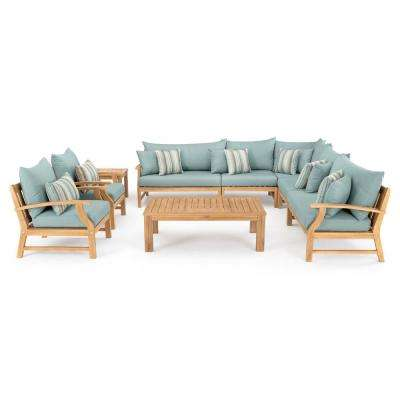 Kooper 9-Piece Wicker Patio Deep Seating Conversation Set with Bliss Blue Cushions