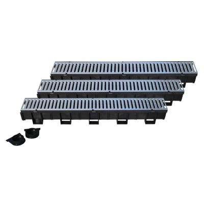 Easy Drain Series 5.4 in. W x 5.4 in. D 39.4 in. L Trench and Channel Drain Kit with Galvanized Steel Grate (3-Pack)