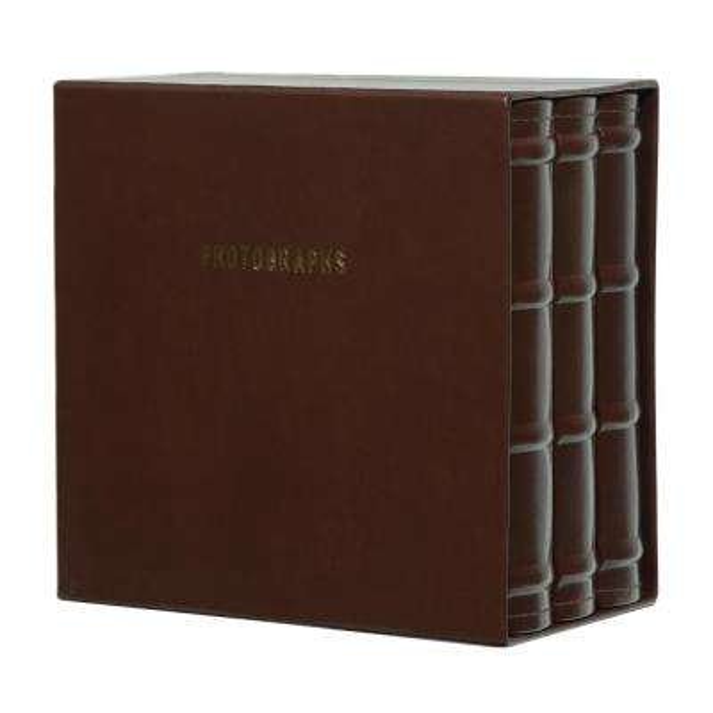 Premium 4 in. x 6 in. Brown Leather Photo Album (Set of 3)