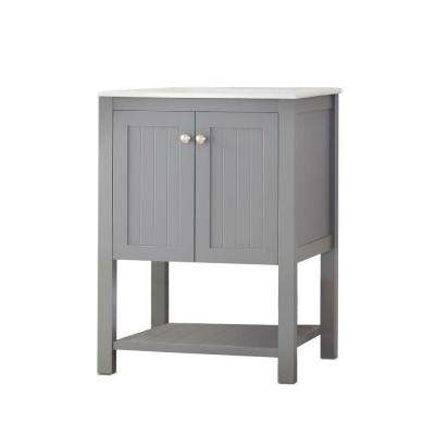 Cranbury 24.5 in. W x 22 in. D x 34.25 in. H Vanity in Cool Gray with Ceramic Vanity Top in White with White Sink