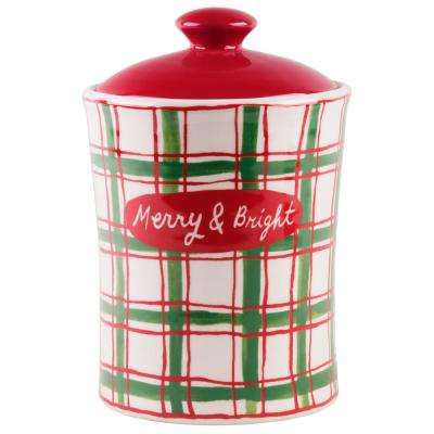 9 in. H Plaid Holiday Canister with Lid