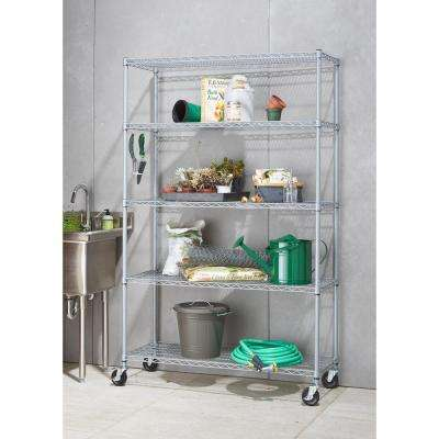 5-Tier Outdoor Wire 48 in. x 18 in. x 72 in. Shelving Rack with Wheels in Gray