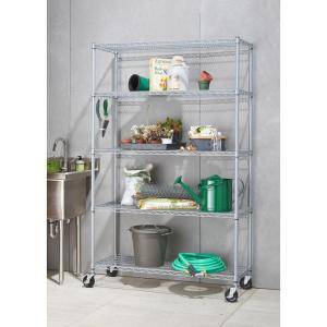Trinity 5 Tier Outdoor Wire 48 In. X 18 In. X 72 In. Shelving Rack With  Wheels In Gray TBF PS664   The Home Depot