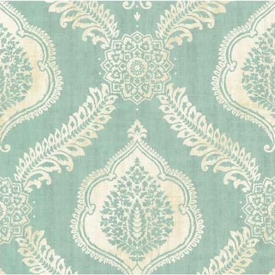 Zoraya Aqua Damask Wallpaper