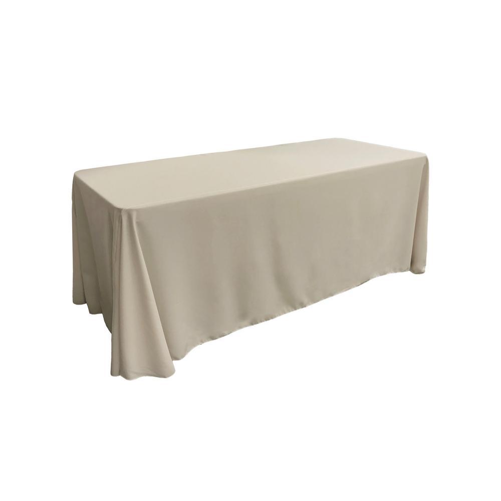 90 in. x 156 in. Light Gray Polyester Poplin Rectangular Tablecloth