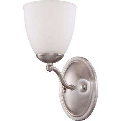 1-Light Brushed Nickel Vanity Fixture with Frosted Glass Shade