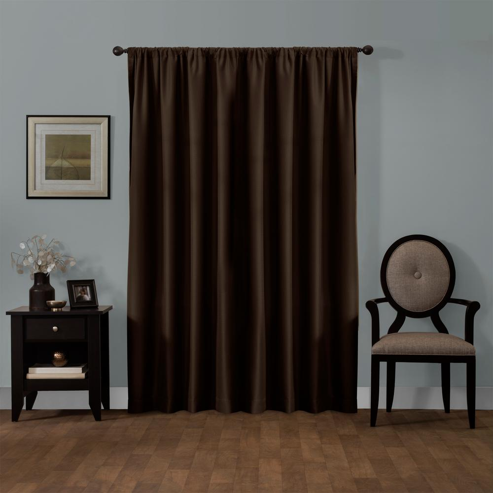 Maytex Julius 50 in. x 84 in. 100% Blackout Smart Curtain Window Panel in Chocolate