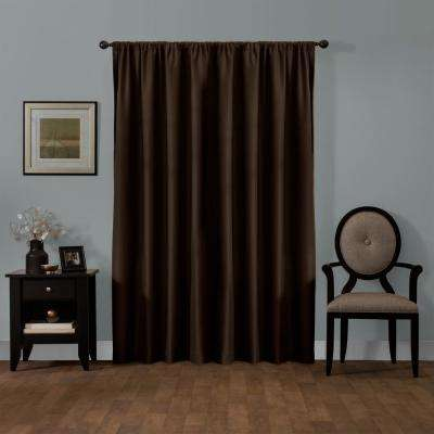 Julius 50 in. x 84 in. 100% Blackout Smart Curtain Window Panel in Chocolate