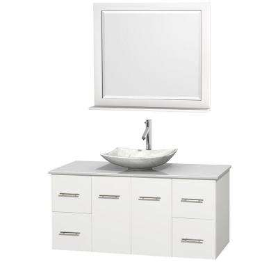Centra 48 in. Vanity in White with Solid-Surface Vanity Top in White, Carrara Marble Sink and 36 in. Mirror