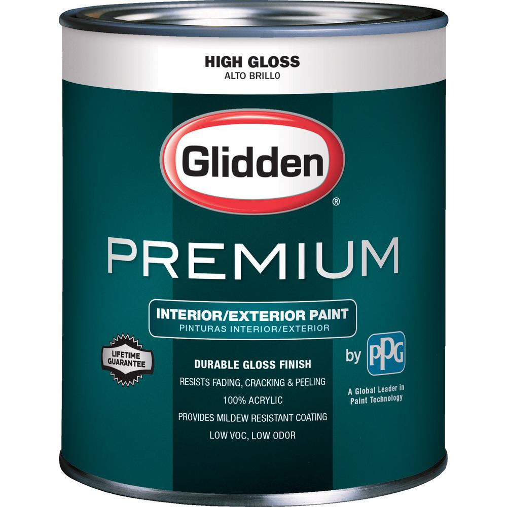 Glidden premium 1 qt high gloss latex white interior exterior paint gl7100 04 the home depot - Exterior white gloss paint image ...