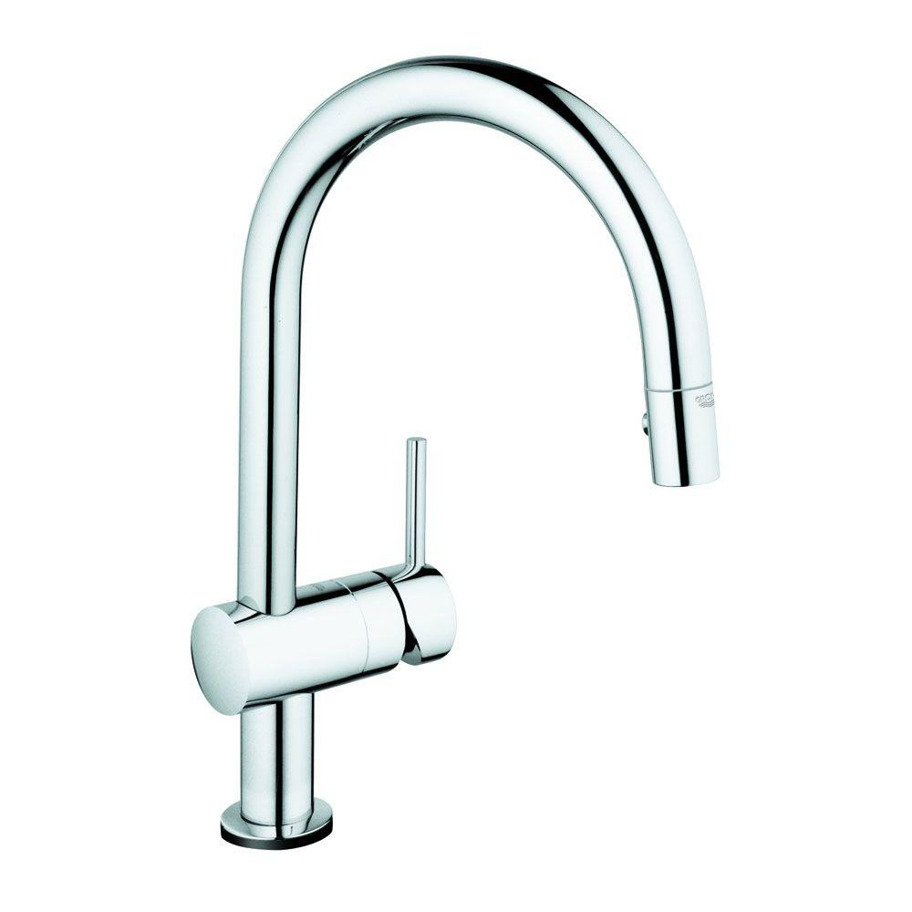 GROHE Minta Touch Single-Handle Pull-Down Sprayer Kitchen Faucet in SuperSteel Infinity