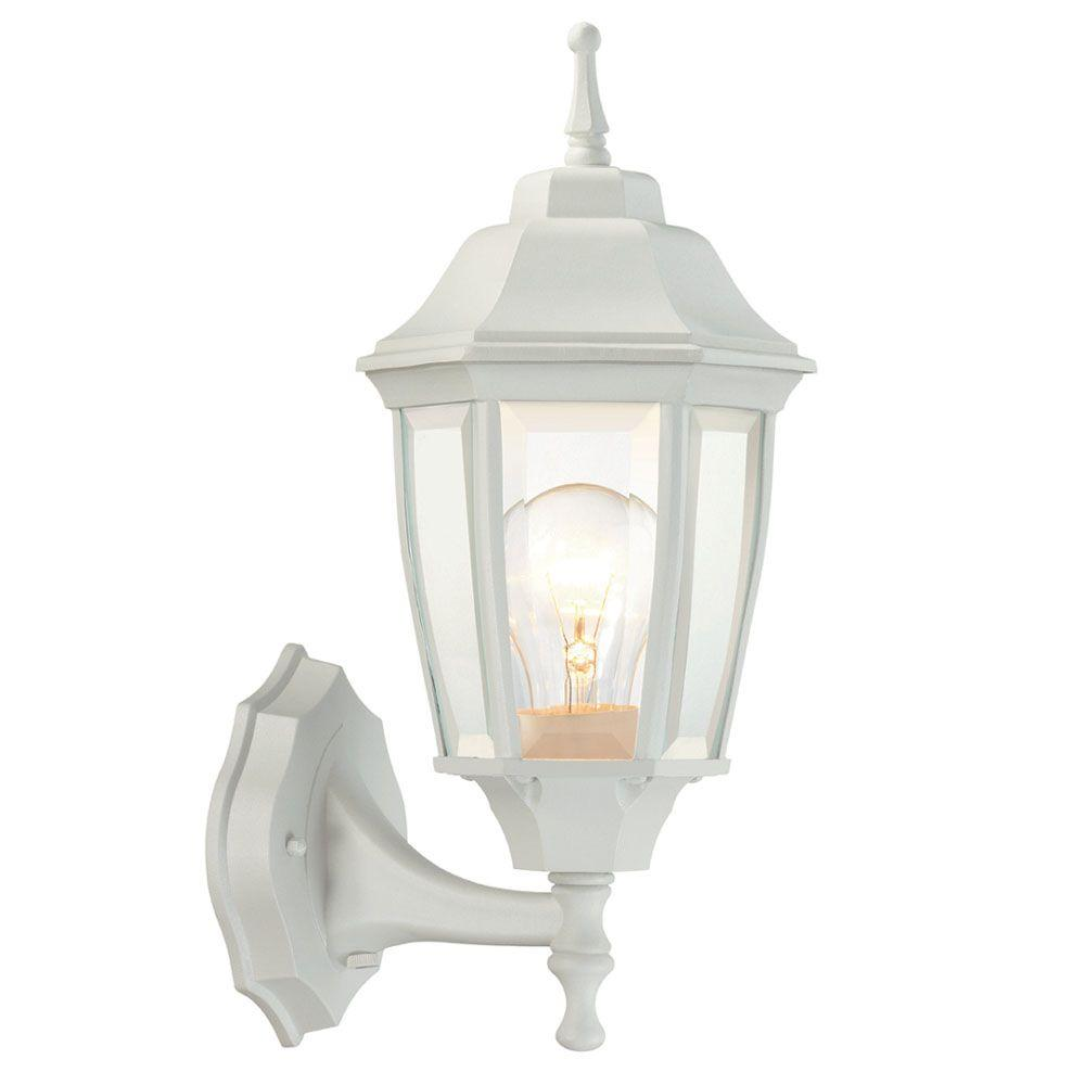 1-Light White Outdoor Dusk-to-Dawn Wall Lantern