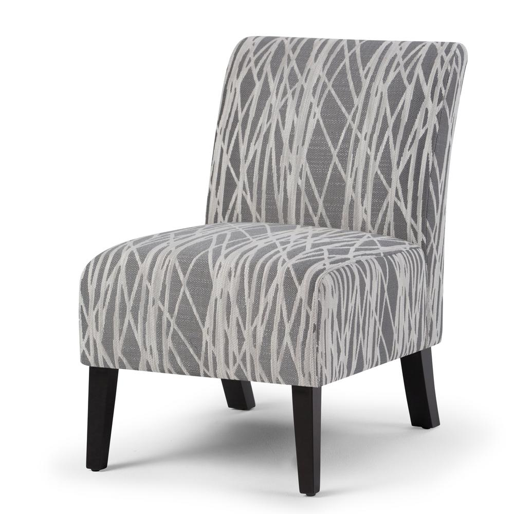 Genial Simpli Home Woodford Grey And White Fabric Slipper Chair