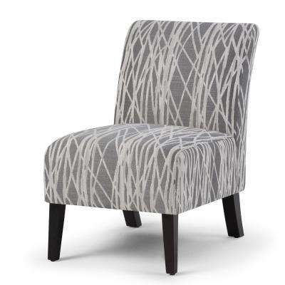 Woodford 22 in. Wide Transitional Accent Chair in Grey, White Patterned Fabric