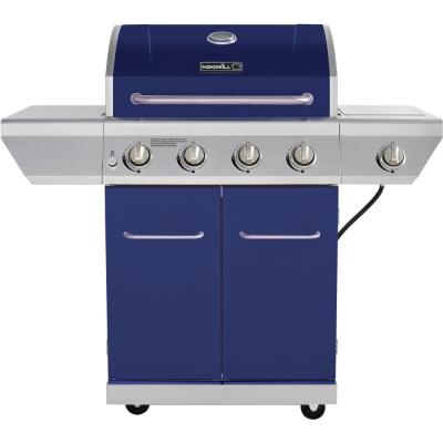 4-Burner Propane Gas Grill in Blue with Side Burner