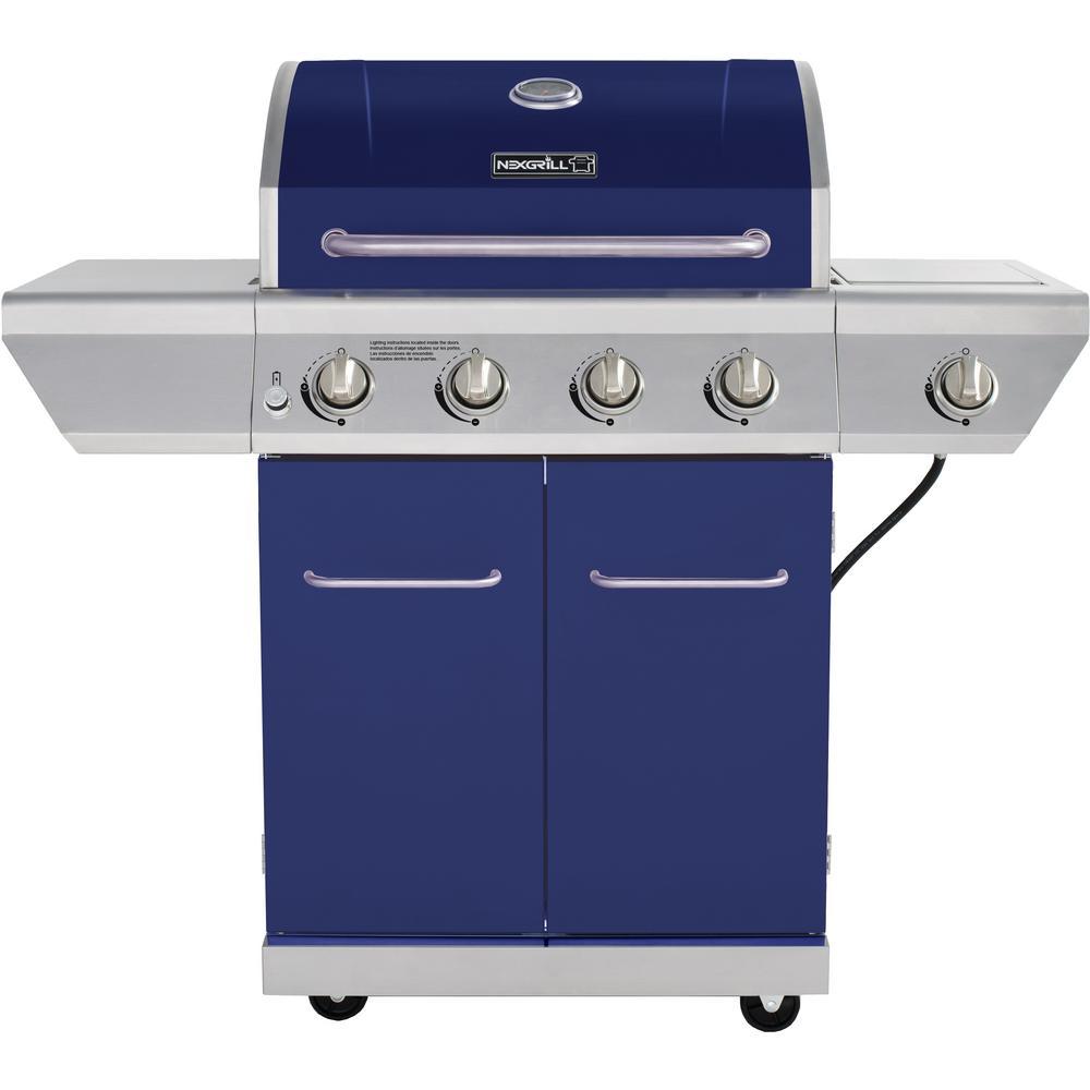 4-Burner Propane Gas Grill in Blue with Side Burner