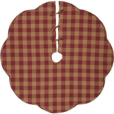 55 in. Burgundy Check Red Primitive Christmas Decor Scalloped Tree Skirt