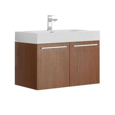 Vista 30 in. Modern Wall Hung Bath Vanity in Teak with Vanity Top in White with White Basin