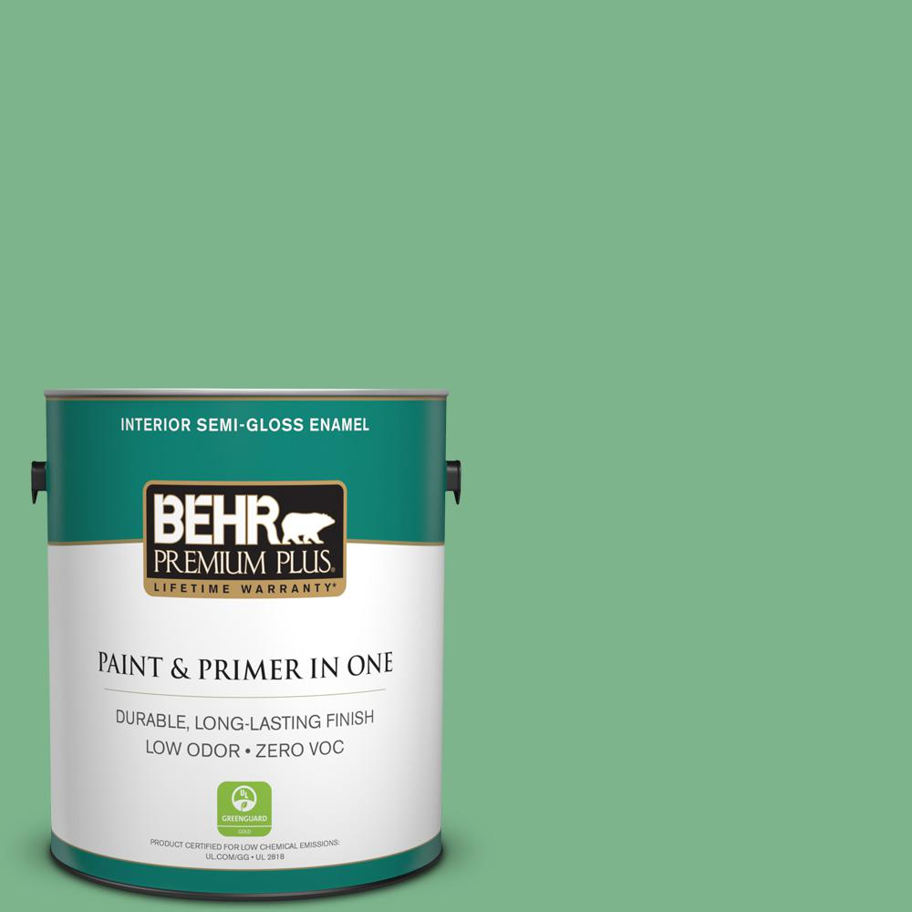 BEHR Premium Plus 1-gal. #460D-5 Tree Fern Zero VOC Semi-Gloss Enamel Interior Paint
