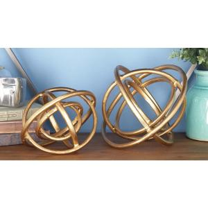 Decorative Orb Sculpture in Golden Aluminum (2-Pack) by