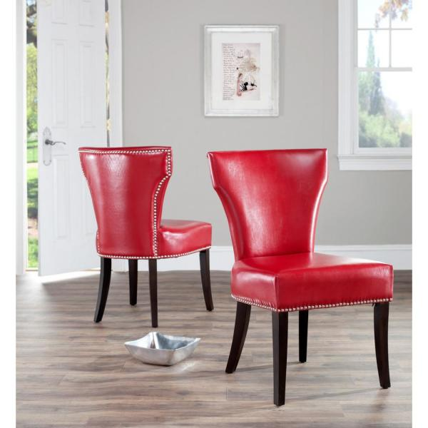 Safavieh Jappic Red/Espresso Bicast Leather Side Chair (Set of 2) MCR4706D-SET2