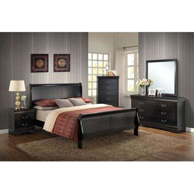 Piedmont 5 Piece Black King Bedroom Suite With Bed, Dresser, Mirror, Chest