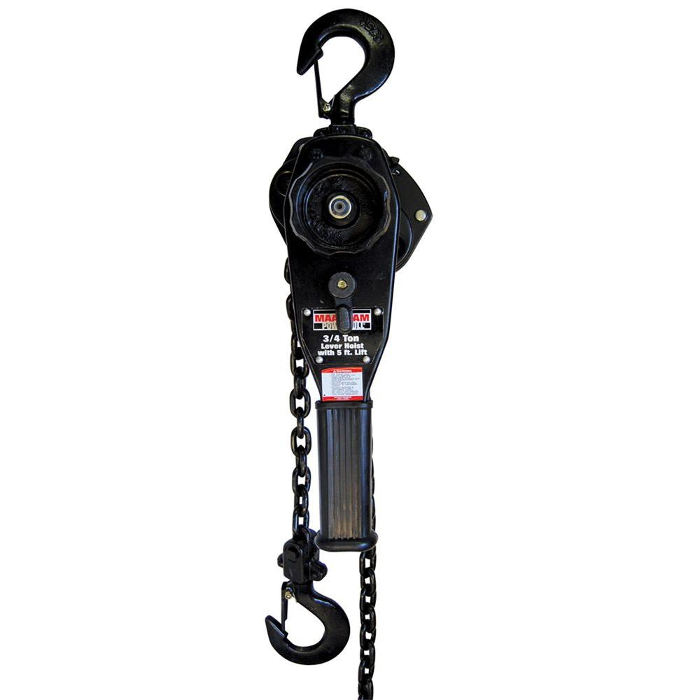 Maasdam pow 39 r pull 3 4 ton lever hoist with 5 ft lift for 1 4 ton chain motor