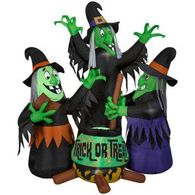 6 ft. Pre-Lit Inflatable Animated Projection with Sound Fire and Ice 3 Witches and Cauldron