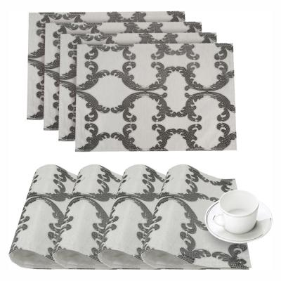 Scroll Silver Linen-Blend Printed Fabric Placemat (Set of 4)