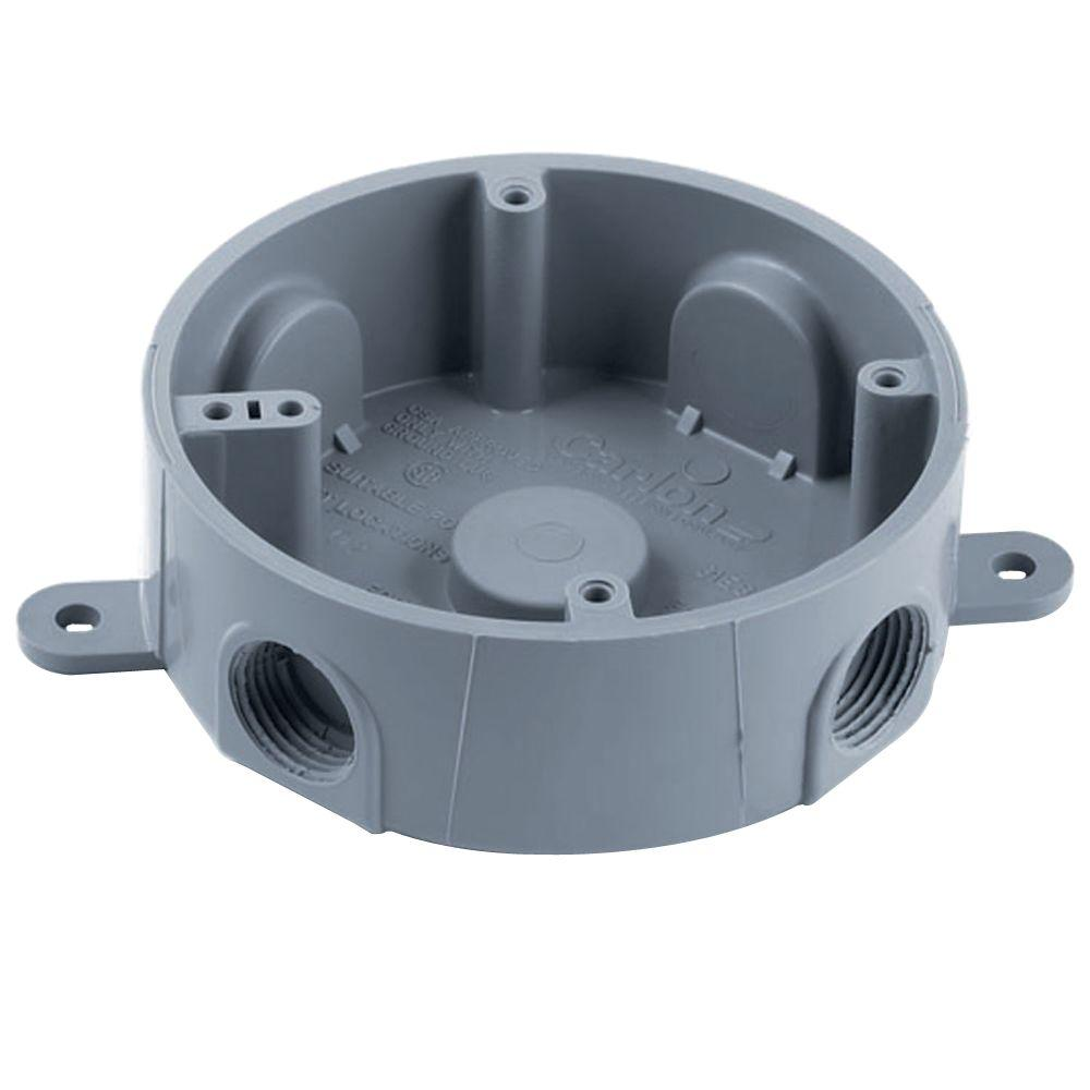 Carlon 4 In Round Weatherproof T Box Gray Case Of 8 E365dr The Home Depot