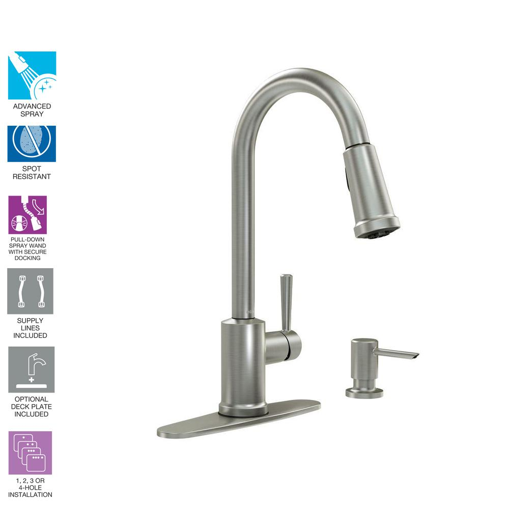 MOEN Indi Single-Handle Pull-Down Sprayer Kitchen Faucet with Reflex, Power Clean, and Microban in Spot Resist Stainless