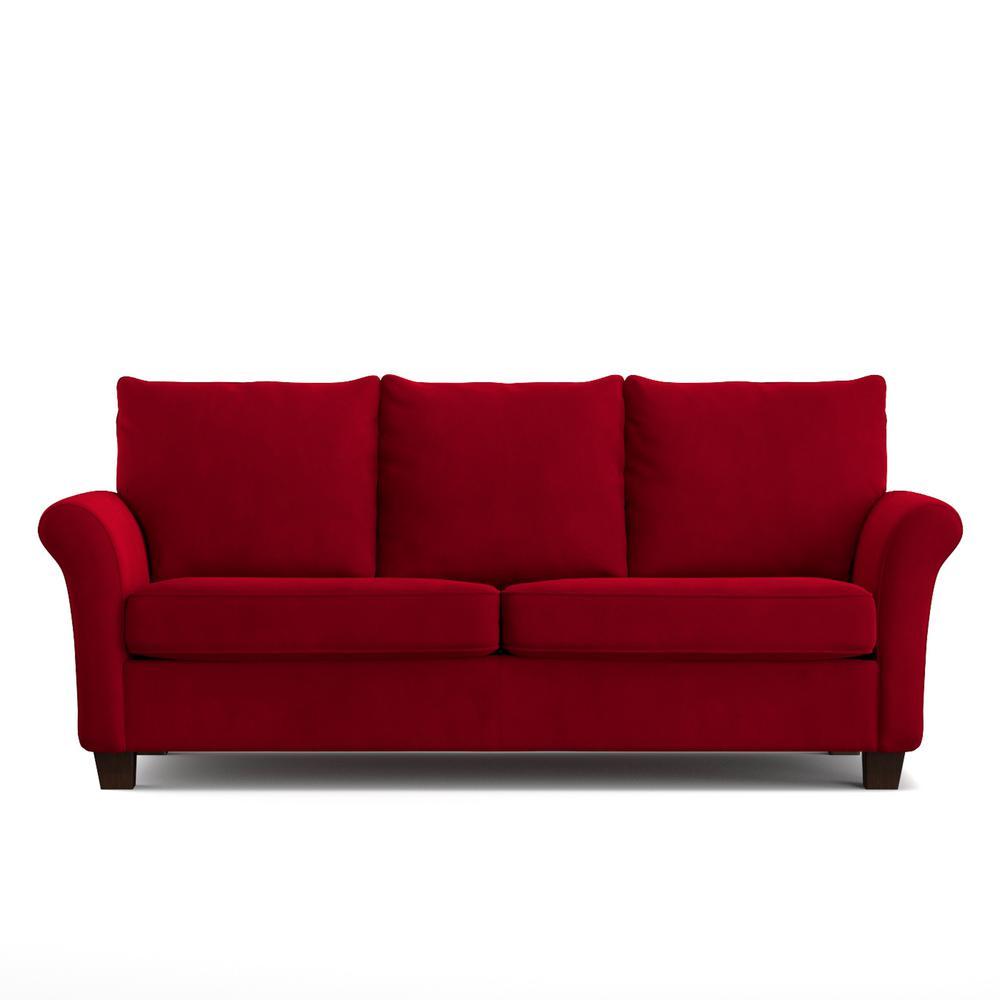 Handy living rockford sofast sofa in red velvet
