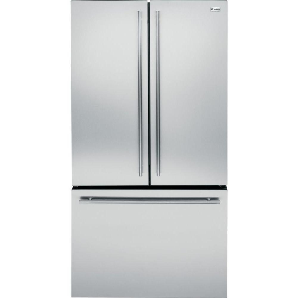 Ge Monogram 23 1 Cu Ft French Door Refrigerator In Stainless Steel Counter Depth