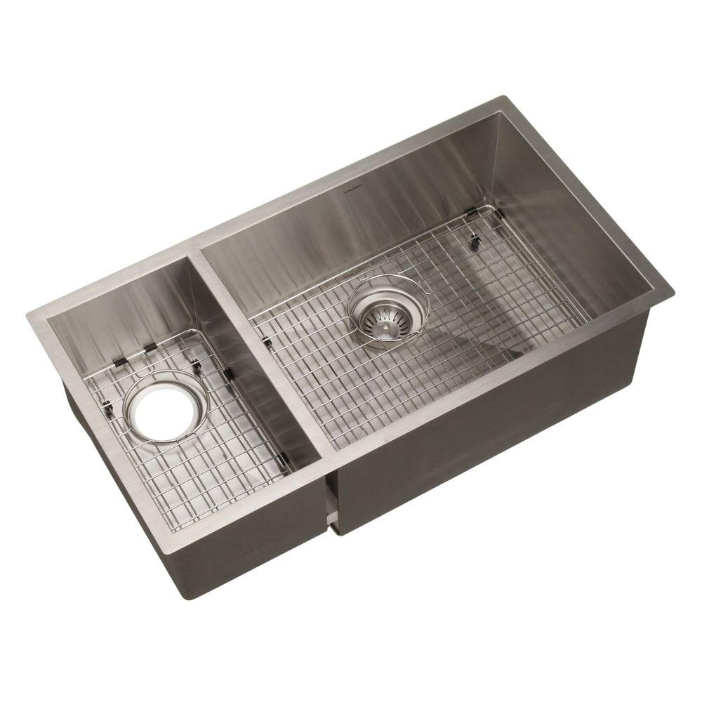 HOUZER Contempo Series Undermount Stainless Steel 33 In. Double Bowl  Kitchen Sink CTO 3370SL   The Home Depot