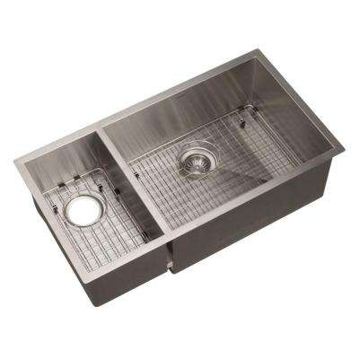 Contempo Series Undermount Stainless Steel 33 in. Double Bowl Kitchen Sink