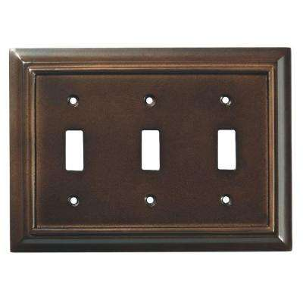 Architectural Wood Decorative Triple Switch Plate, Espresso