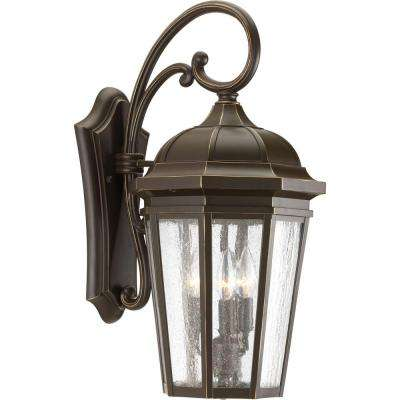 Verdae Collection 3-Light 21.75 in. Outdoor Antique Bronze Wall Lantern Sconce